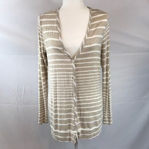 Three Dots Sweaters - Three Dots- Tan/white stripe button up cardigan, L